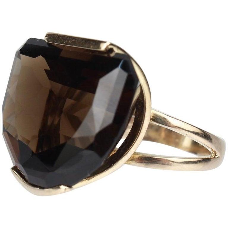 Modernist 14 Karat Gold and Half Moon Cut Smoky Topaz Cocktail Ring