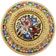 Antique Micromosaic Etruscan Revival Gold Brooch
