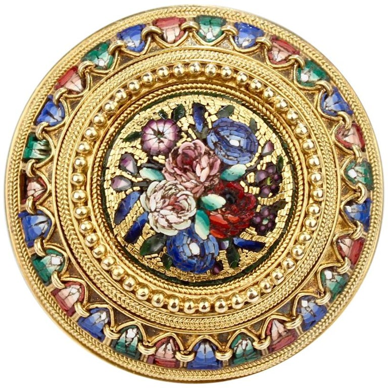 Antique Micromosaic Gold Brooch