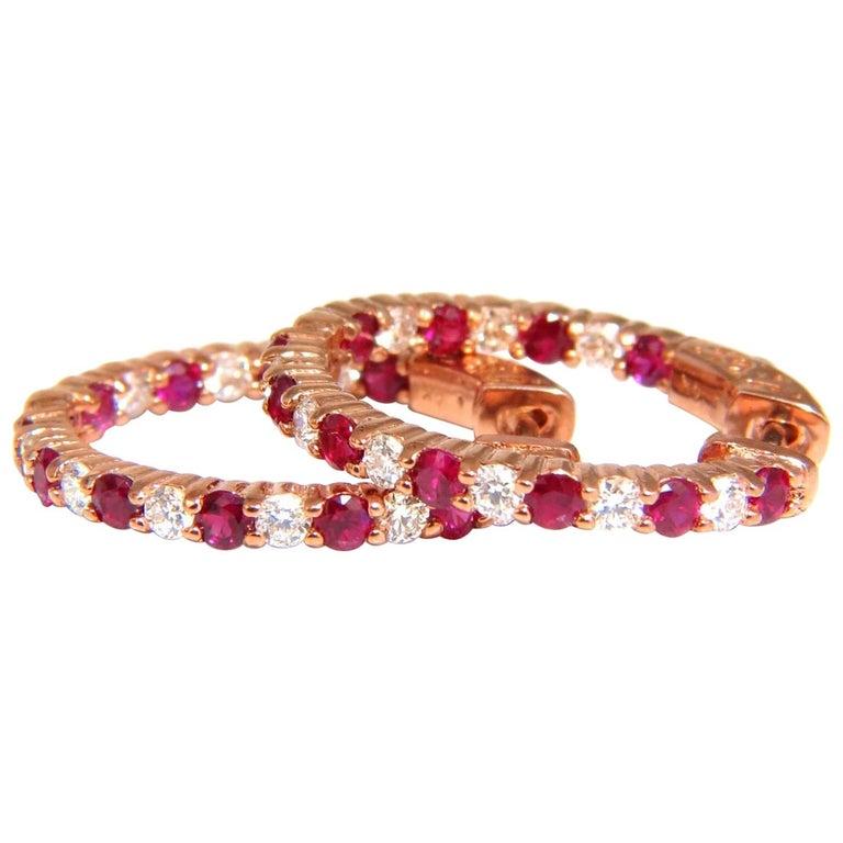 2 56 Carat Natural Red Ruby Diamond Hoop Earrings 14 Karat Gold For
