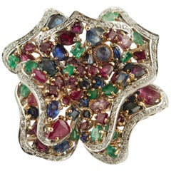 Rubyes Sapphires Emeralds Diamonds Rose and White Gold Ring
