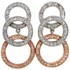 2.00 Carat Natural Diamonds Three-Tier Circles Dangling Earrings 14 Karat