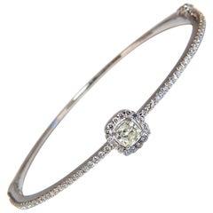 .95 Carat Natural Round Diamond Cluster Halo Bangle Bracelet 14 Karat