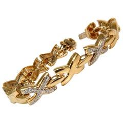 "1.00 Carat Diamonds Classic ""X"" Link Bracelet G/VS 14 Karat"