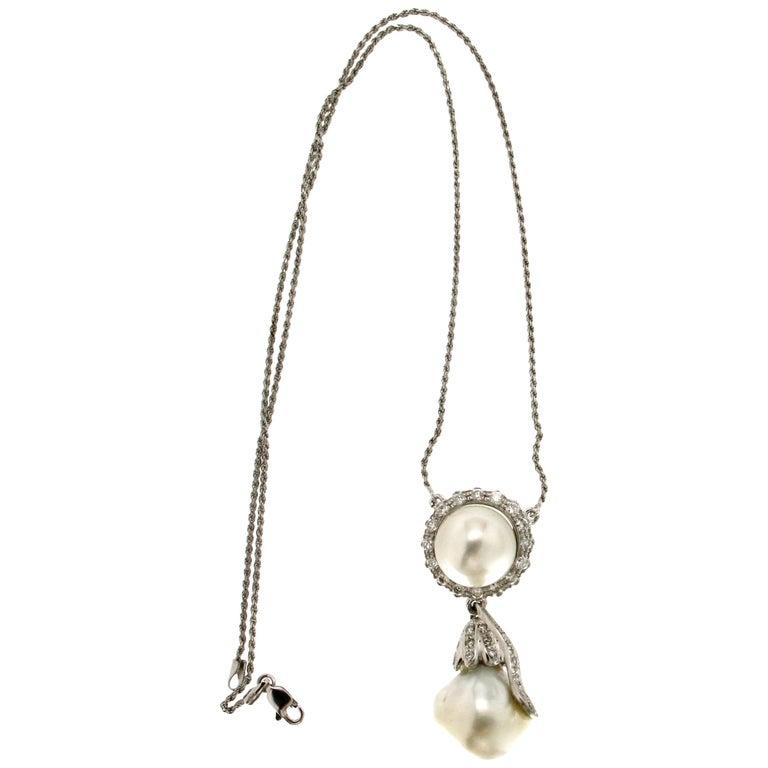 Australian Pearl 18 Carat White Gold Diamonds Pendant Necklace