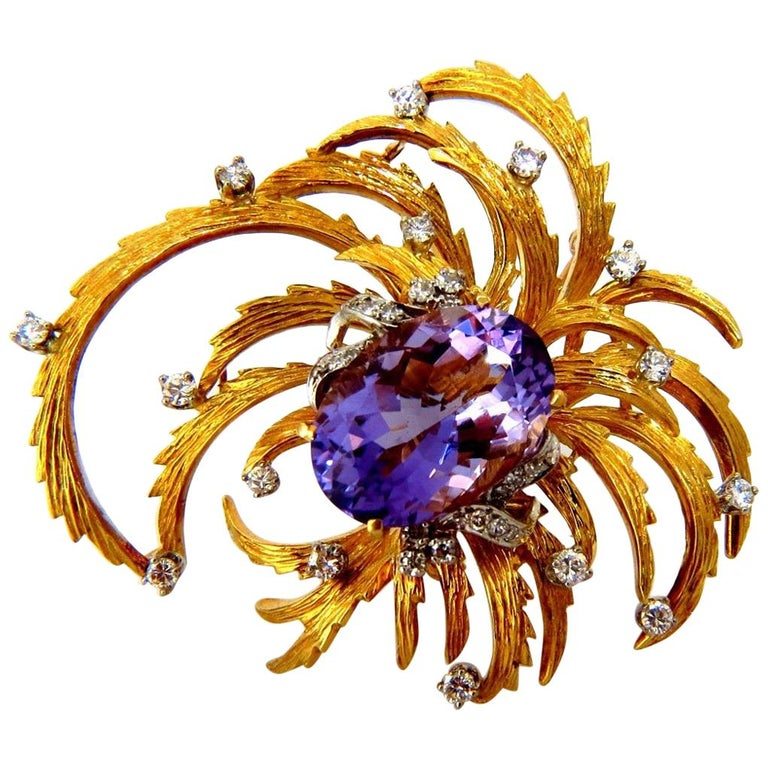 11 Carat Natural Purple Amethyst Curling Petals Diamonds Pendant Brooch 18 Karat For Sale