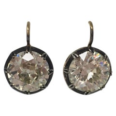 11.67 Carat Old European Cut Diamond Antique Style Dangle Earrings In 18 K Gold
