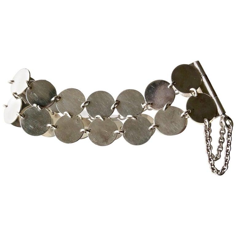 Rare Kalevala Koru Sterling Silver Finnish Modernist Chain Maille Bracelet, 1968 For Sale