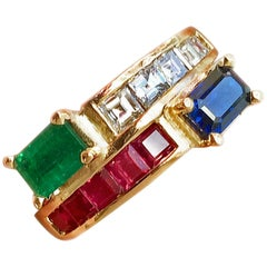 Twin 3.0 Carat Vintage Diamond, Ruby Emerald and Sapphire Bypass Ring 18 Karat
