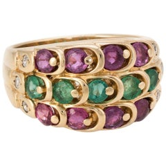 Emerald Ruby Diamond Cigar Band Ring Vintage 14 Karat Yellow Gold Estate Jewelry