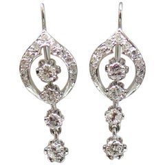Vintage Wire and Hook Dangling Diamond Earrings 1.10 Carat Total Weight