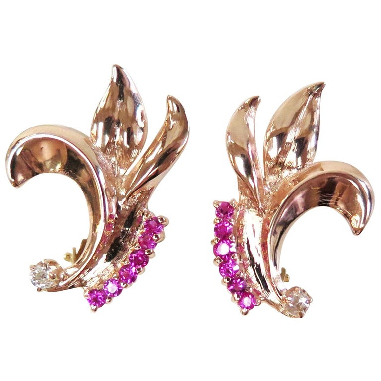 1940s Rose Gold Synthetic Ruby Omega Back Earrings with Two Diamonds, 14 Karat For Sale