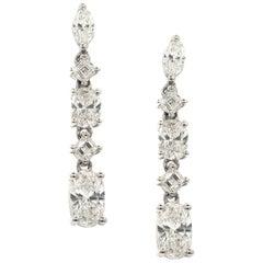 3.48 Carat Diamond Stud Dangling Earrings 18 Karat White Gold