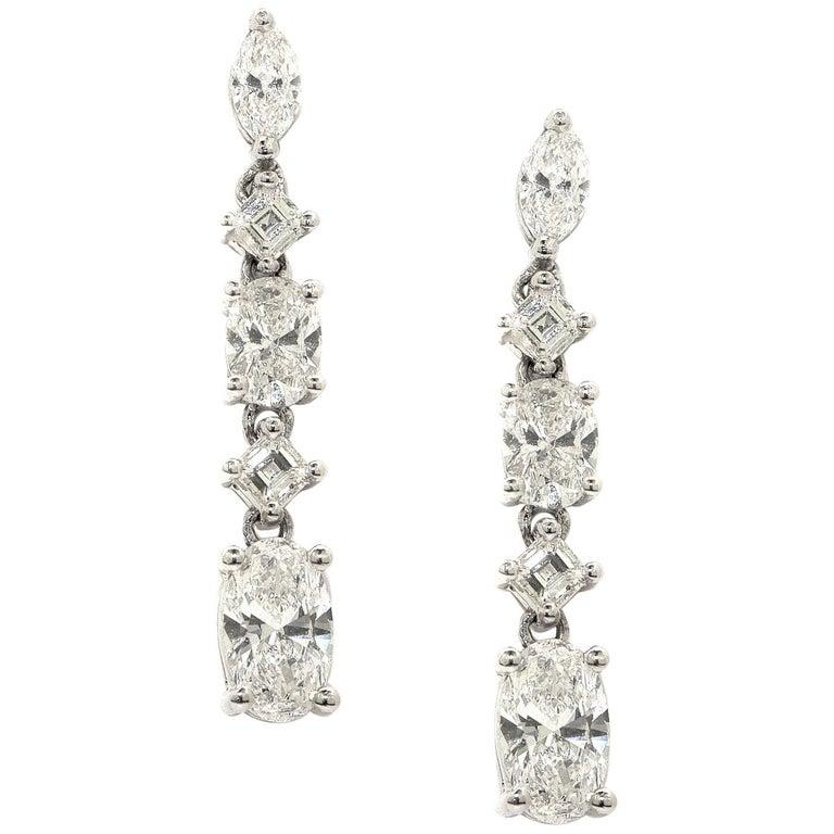 3.48 Carat Diamond Stud Dangling Earrings 18 Karat White Gold For Sale