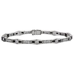Art Deco J. E. Caldwell Diamond Onyx Platinum Line Bracelet