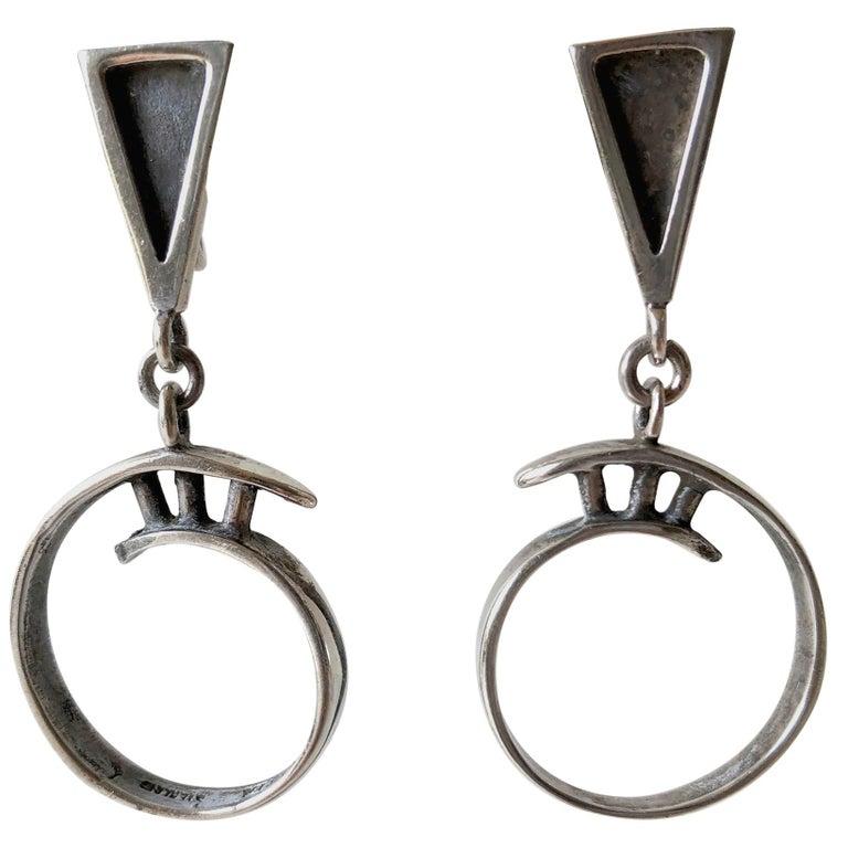 Idella La Vista Sterling Silver American Modernist Earrings For Sale
