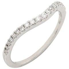 18 Karat White Gold .18 Carat Pave Diamond Curved Wedding Band Ring