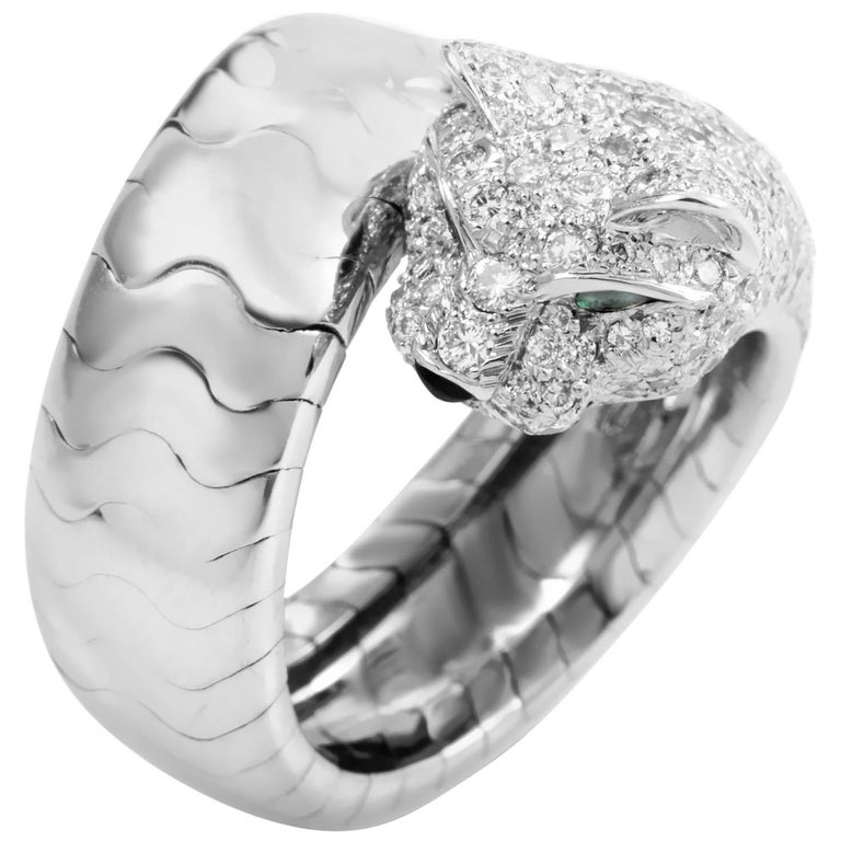 Cartier Panthere Diamond and Gemstone White Gold Panthere Ring