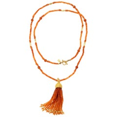 Carnelian Bead Necklace with Removable Tassel
