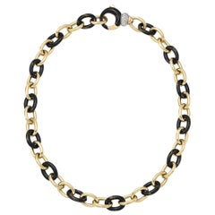 Vintage Soho Black and Yellow Foliage Link Necklace with Diamond Clasp
