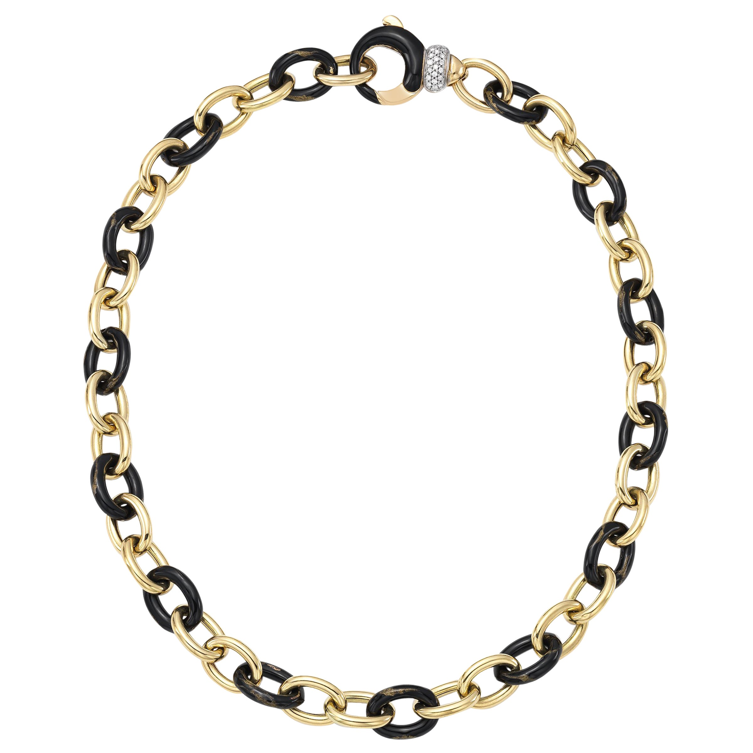 Vintage Soho Black and Yellow Foliage Link Necklace with Diamond Clasp at  1stdibs