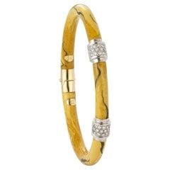 Vintage Soho Yellow Enamel Bracelet with Two-Diamond Stations
