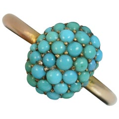 Victorian 9 Carat Rose Gold and Turquoise Bombe Cluster Ring