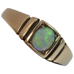 Victorian 15 Carat Gold and Opal Solitaire Gypsy Solitaire Stack Ring