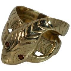 Large Snake Serpent 9 Carat Gold and Garnet Ring