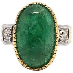 12 Carat Intense Green Emerald and Diamond Ring, circa 1940