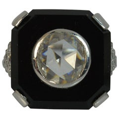 Art Deco 2.3 Carat Rose Cut Diamond and Onyx 18 Carat White Gold Slab Ring