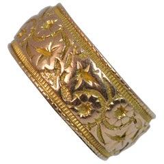 Edwardian Solid 9 Carat Rose Gold Ivy Leaf Wide Band