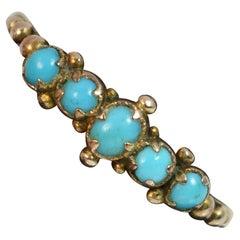Georgian 9 Carat Rose Gold Turquoise Five-Stone Stack Ring