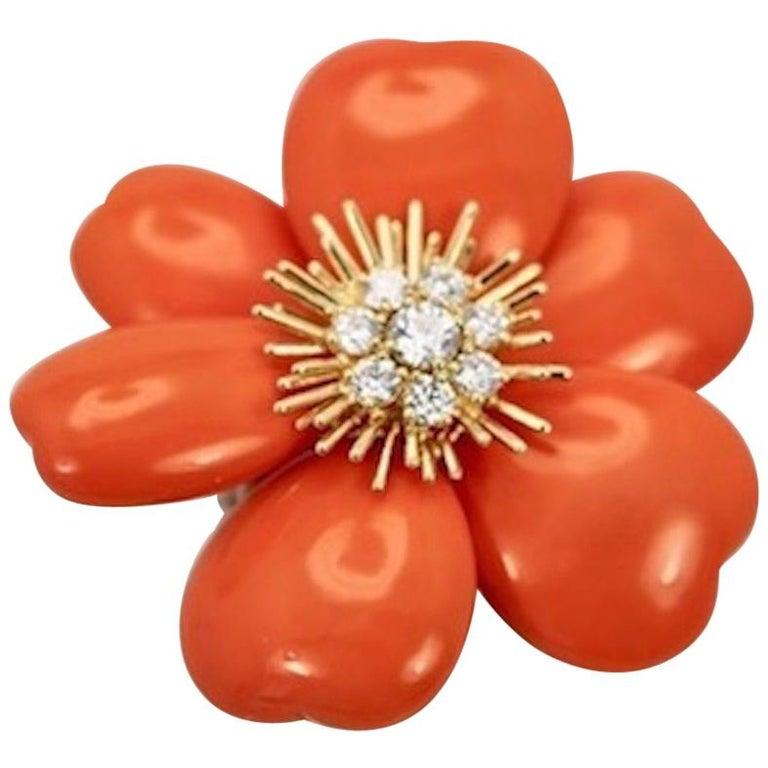 Van Cleef & Arpels Diamond Coral Rose de Noel Coral Brooch