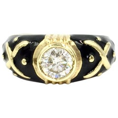 Hidalgo Black Enamel and 0.72 Carat Diamond Ring
