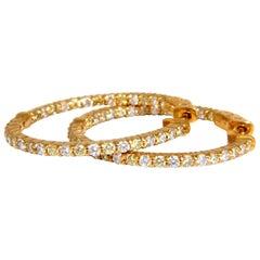 1.70 Carat Natural Round Brilliant In/Out Diamond Hoop Earrings 14 Karat G/Vs