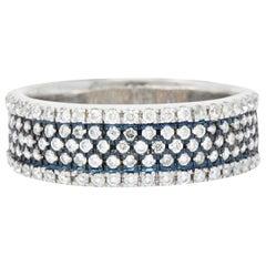 Contemporary Diamond Platinum and 18 Karat White Gold Men's Ring Blue Rhodium