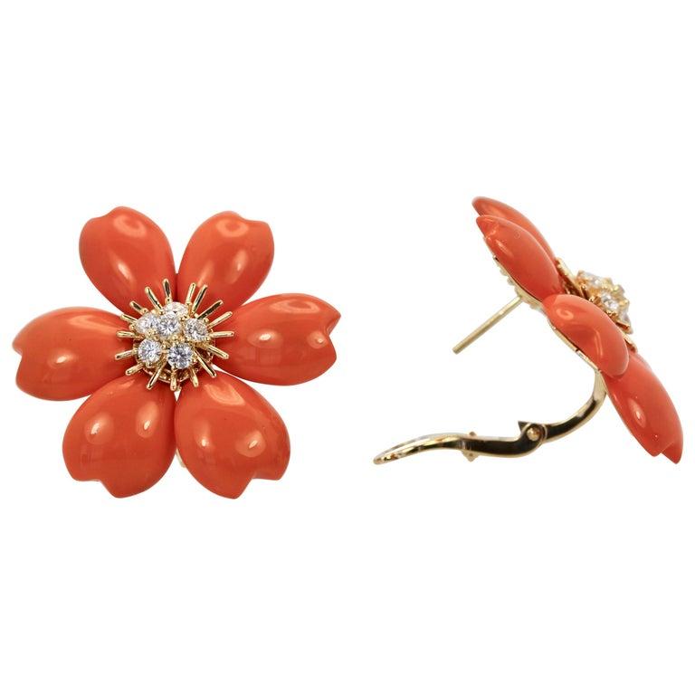 Van Cleef & Arpels Diamond Coral Rose de Noel Earrings