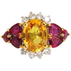 5.30 Carat Natural Vivid Yellow Sapphire Ruby Ring 14 Karat Vivid Reds