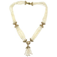 1960s Multi-Strand Pearl Diamond 18 Karat Yellow Gold Tassel Necklace