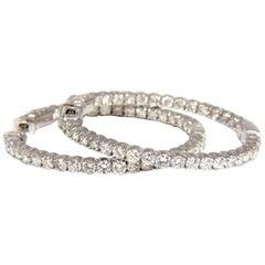 2.72 Carat Natural Diamonds Inside Out Hoop Earring 14 Karat Button Press