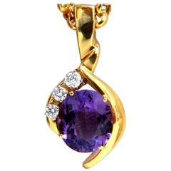 11.05 Carat Natural Oval Amethyst Diamonds Necklace 14 Karat Vivid Purple