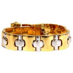 18 Karat Yellow Gold Wide Caliber Bracelet 1990s Nostalgia