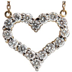 1.64 Carat Diamonds Open Heart Necklace 14 Karat G/Vs