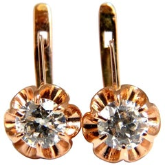 1.40 Carat Russian Old Mine Natural Diamonds Earrings 14 Karat Rose Gold H.VS