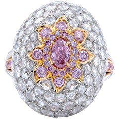 David Rosenberg 0.37 Carat Oval Fancy Purple Pink GIA Dome Flower Diamond Ring