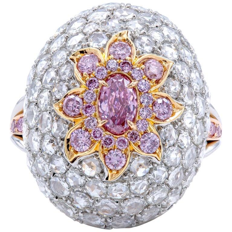 David Rosenberg 0.37 Carat Oval Fancy Purple Pink GIA Dome Flower Diamond Ring