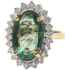 9.95 Carat Emerald and Diamond Ring