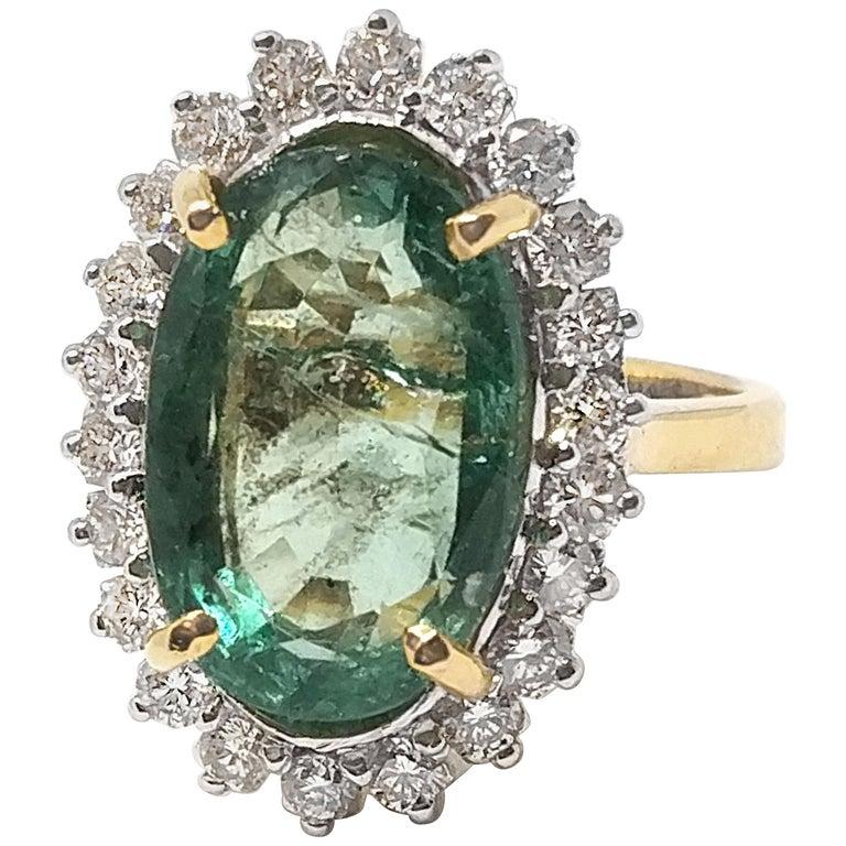 9.95 Carat Emerald and Diamond Ring
