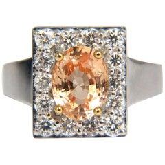 GIA 2.96CT Natural Yellow Orange Sapphire Diamonds Square Cluster Ring 14KT
